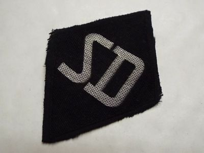 Original Ww2 German Special Forces Officers S-D Sleeve Patch, Flat Wire