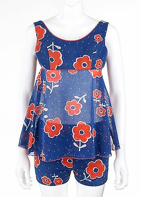 Vtg c.1950's Blue Red Poppy Floral Cotton Print Two Piece Bathing Swimsuit OOAK