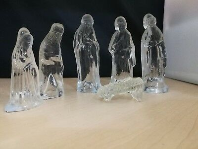 6 x Glass Manger Scene Ornaments Paperweights - Mary, Joseph, Jesus & 3 Wise Men