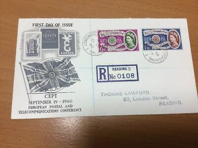 1960 CEPT First Day Cover Reading CDS Postmark