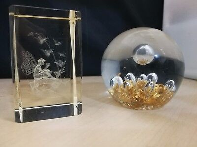 Glass Laser Etched Paperweight & Glass Sphere Ornament