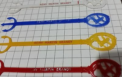 REMY MARTIN Brandy swizzle / stir sticks 4 different colours vintage barware