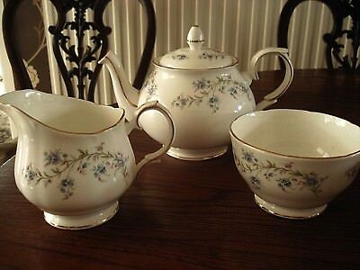 "DUCHESS CHINA ....""TRANQUILLITY""  (Forget me Nots)TEAPOT, MILK & SUGAR"