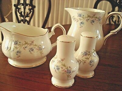 "DUCHESS CHINA ...""TRANQUILLITY""  (Forget me Nots) Jug, Gravy Boat, Salt & Pepper"