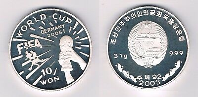 10 Won 2003 Korea 1 onza Troy 31 gr 999 mm World Cup Germany 2006 FIFA