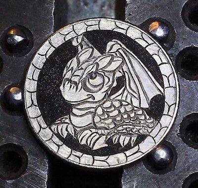 HOBO Buffalo NICKEL ~ Baby Dragon ~ real carved coin carved by BARB HUNTER GOT