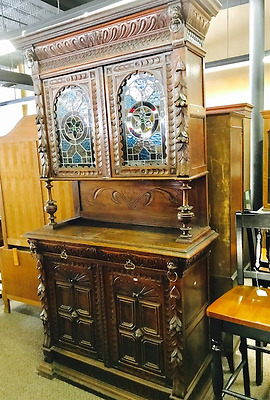 Beautiful Antique Buffet Sideboard w/Leaded Glass Doors 1880's  PRICE REDUCED