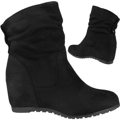 New Womens Ladies Faux Suede Hidden Wedge Ankle Casual Work Boots Shoes Size
