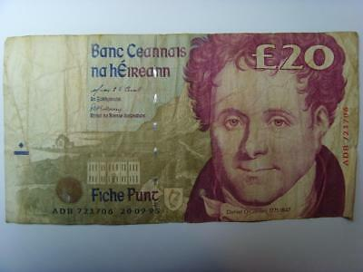 """1995 O""""connell Ireland £20 Pounds (Poor) Banknote Irish Twenty Pounds Bank Note"""
