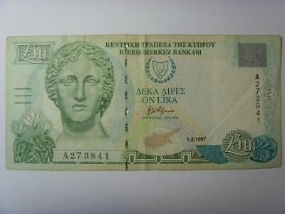 1997 Cyprus £10 Pounds Banknote Cypriot Ten Pounds Bank Note Bank Of Cyprus