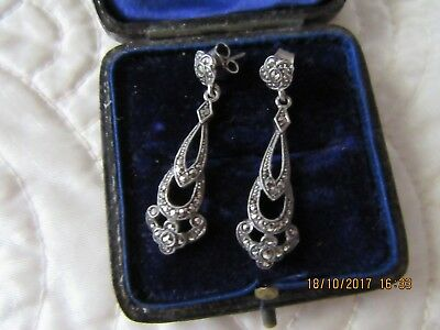 Art Deco antique earrings silver and marcasite