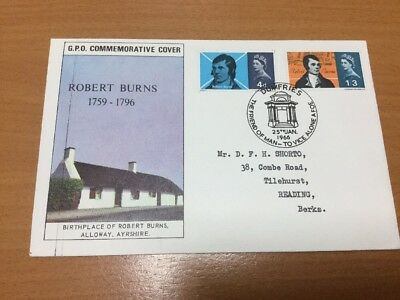 1966 Robert Burns GPO First Day Cover Dumfries Special Postmark