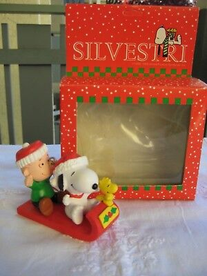 """Peanuts Snoopy Christrmas Ornament """"Snoopy and Linus Tobbogan"""" by Silvestri 1990"""