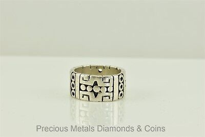 Heavy Bold Sterling Silver Carved Aztec 11mm Band Ring Mexico Taxco 12g Sz: 9