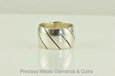 Men`s Sterling Silver 14mm Twisted Groove Cigar Barrel Ring 15.9g Mexico Sz: 13