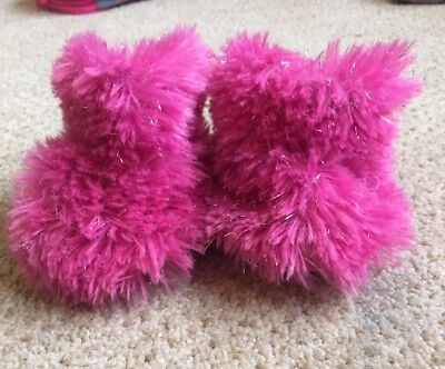 Build a bear pink fluffy slippers