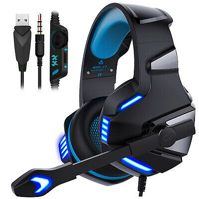 EACH 3.5mm Gaming Headset Mic Blue LED Headphones G7500 For Laptop PS4 Xbox one
