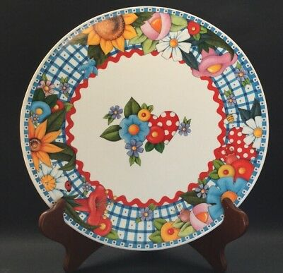 """Mary Engelbreit 10"""" Plate 1999 Blue Red Pink Yellow Flowers Red Hearts"""