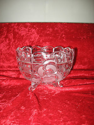 Vintage Glass 3 Footed Bowl Dish