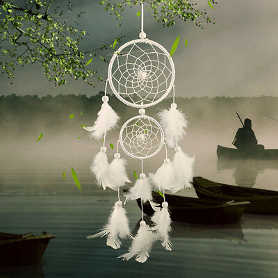 Dream Catcher white two-loop Feather Home wall Hanging Decoration Gift