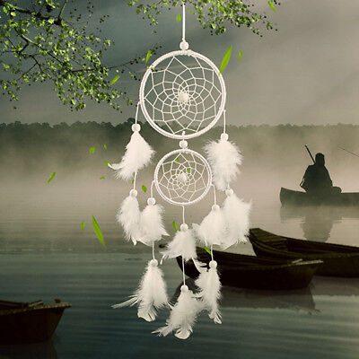 Dream Catcher white two-loop natural Style Home wall Hanging Decoration Gift