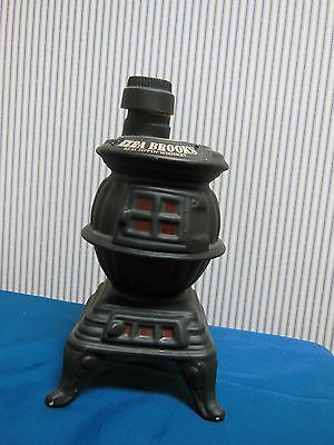 Vintage 1968 Ezra Brooks Pot Belly Wood Stove Decanter Whiskey Bottle