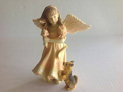 """Angels Among Us """"Angel with Ice cream and Puppy"""" Figurine by Betty Singer 2004"""