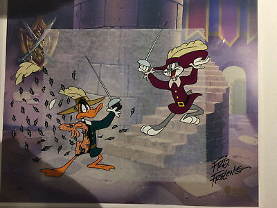 Two Musketeers- Warner Bros Looney Tunes Bugs Bunny Daffy Duck hand painted Cel