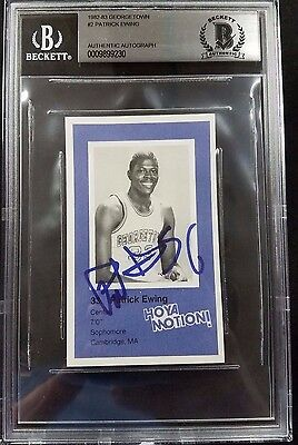 1982 Georgetown Police Patrick Ewing Autographed Hoyas Rookie Card Beckett Slab