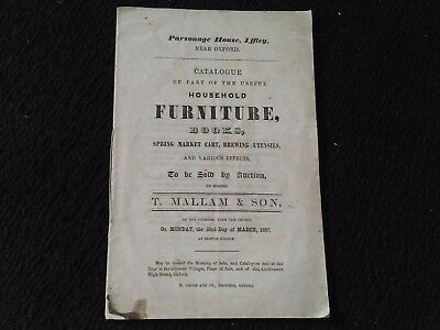 OXFORD : IFFLEY : PARSONAGE HOUSE .. AUCTION CATALOGUE 1857 .. FOR Rev. Marshall