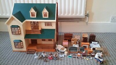 Sylvanian Families House On The Hill Manor House, Furniture and Otter Family