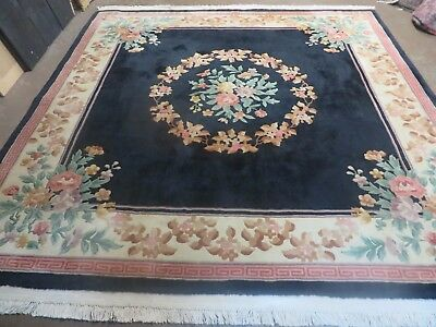 8' x 8' Vintage Square Hand Made Black Art Deco Chinese Wool Rug Floral Nice