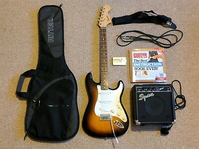 Fender Squier stratocaster electric guitar & accessories
