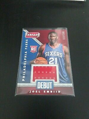 2014-15 Panini Threads RC Debut Game Used Joel Embiid /199