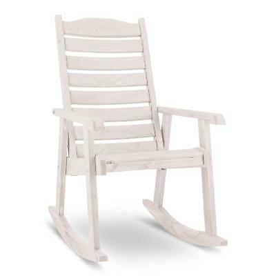 Pine Hardwood Rocking Chair Relax Reclining Garden Arm Back Rest Balcony White