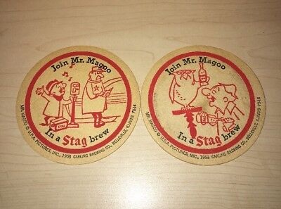 Lot of 2 Vintage Mr Magoo Stag beer coasters Mat 1958 RARE Tavern Advertising