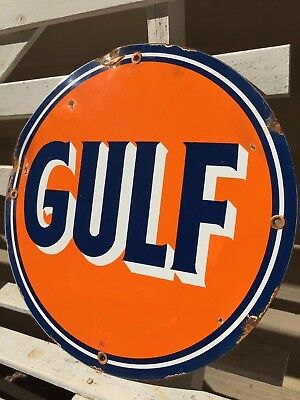 Gulf Gas & Oil Porcelain Sign Vintage Oil Lubester Service Station Pump Plate
