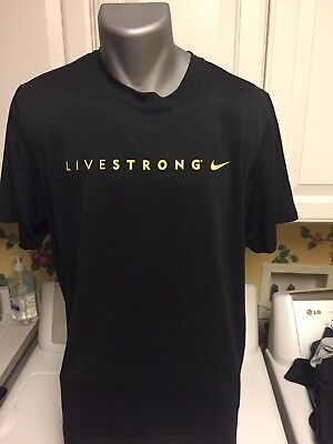 Nike Dri Fit LIVESTRONG Men's Black Athletic Workout T Shirt Large