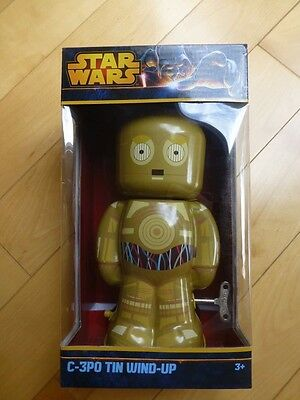 "Brand New NIB Star Wars C3PO Tin Wind Up 7.5"" Tall  Tin Toy"