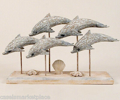 COASTAL ART DESIGNS Hand Carved Washed Wood Dolphin School Tabletop Sculpture