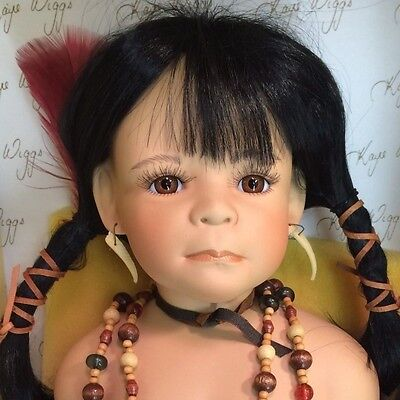 """Artist Int. LE Kaye Wiggs Native American Little Feather BIG 23"""" Porcelain Doll"""