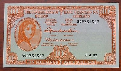 Ireland, Central Bank of, Lady Lavery  10/-, dated 6.6.68, UNC