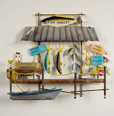 Coastal Art Designs Hand Crafted Metal Fish Market Nautical Wall Sculpture