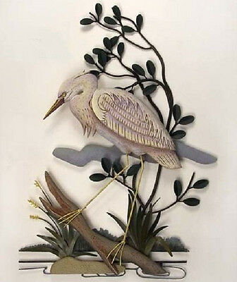 Coastal Art Designs Hand Carved White Heron Left Wood & Metal Wall Sculpture