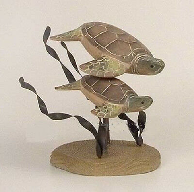 Coastal Art Designs Hand Carved Wood Turtle Pair Tabletop Figurine Sculpture