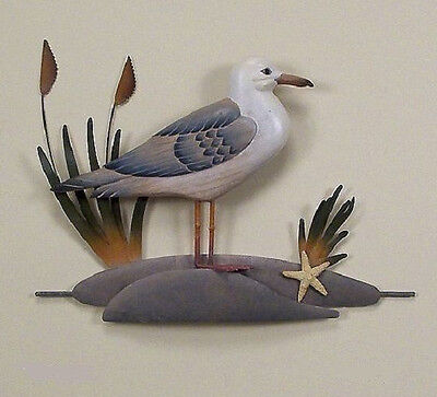 Coastal Art Designs Hand Carved Wooden Single Seagull w/ Metal Wall Sculpture