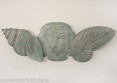 COASTAL ART DESIGNS Hand Carved Wooden Triple Shells Nautical Wall Sculpture