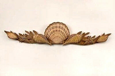 Coastal Art Designs Shell Swag Hand Carved Wood Wall Sculpture