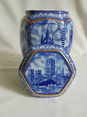 """Wade for Ringtons Blue and White """"Cathedrals"""" Tea Caddy 2000 Vintage"""