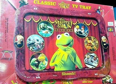 """Muppet Show 25 Years Classic Full Size 22"""" Metal TV Tray w/ Legs Kermit the Frog"""
